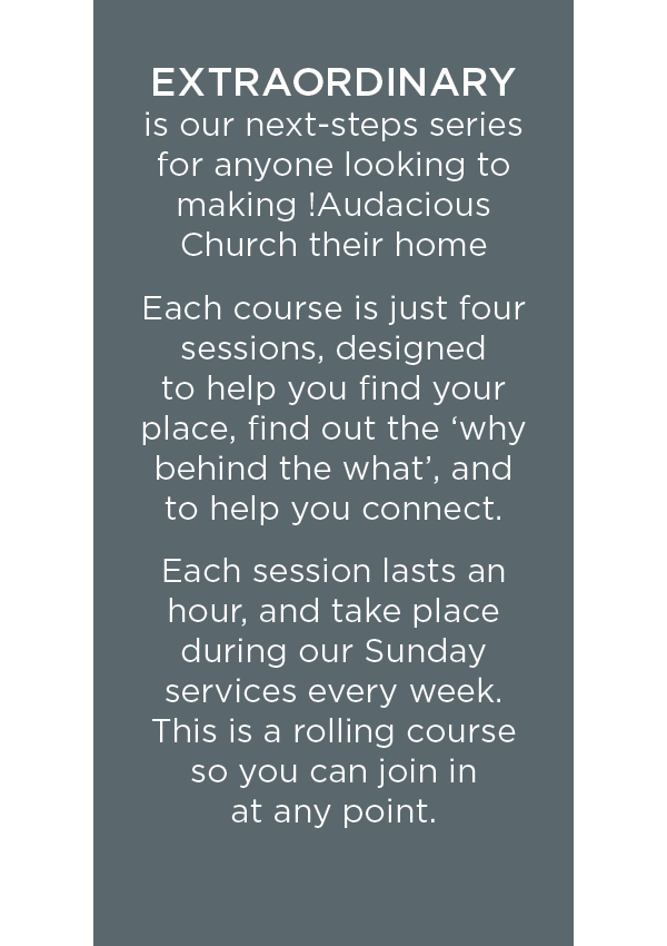 I'm new to !Audacious Church! - Find out more information here